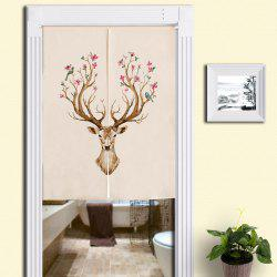 Floral Deer Print Cotton Linen Home Door Curtain