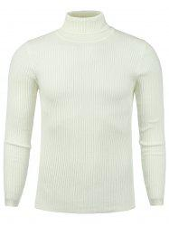 Vertical Knitting Turtle Neck Stretchy Sweater