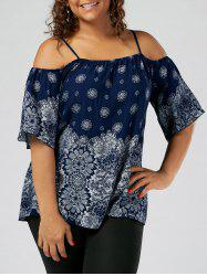 Floral Print Slip Cold Shoulder Plus Size Top - BLUE
