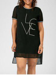 Plus Size Chiffon Love Letter  Tee Dress