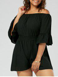 Chiffon Ruffled Off The Shoulder Plus Size Romper - BLACK