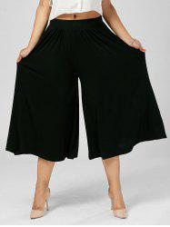 Plus Size Wide Leg Capri Palazzo Pants - BLACK