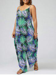 Plus Size Tropical Printed Spaghetti Strap Baggy Jumpsuit - GREEN