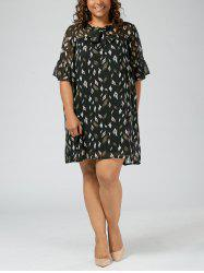 Plus Size Printed  Mini Chiffon Pussy Bow Dress