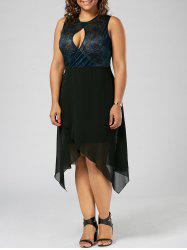 Plus Size Keyhole Neck Overlap Sleeveless Dress