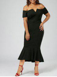 Plus Size Mermaid Off The Shoulder Dress - BLACK