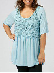 Crochet Lace Insert Plus Size Tunic T-Shirt - Light Blue - 5xl