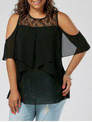 Plus Size Cold Shoulder Lace Panel Blouse - Black - 3xl