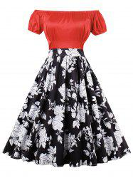 Floral Print Empire Waist Pin Up Dress
