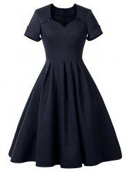 Sweetheart Neck Cuffed Vintage Dress