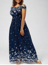 Floral Print Cold Shoulder Plus Size Maxi Dress - DEEP BLUE
