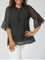 Polka Dot Semi Sheer Chiffon Plus Size Top