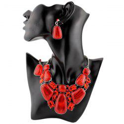 Faux Gemstone Retro Statement Necklace Set