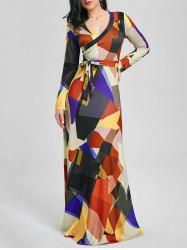 Color Block V Neck Long Sleeve Maxi Dress - BLACK