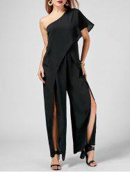 One Shoulder High Slit Overlap Jumpsuit - BLACK