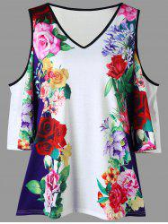 Plus Size Floral Cold Shoulder T-shirt