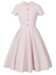 Checked Collared Short Sleeve Pin Up Dress -