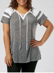 Plus Size Lace Up Raglan Sleeve Top - GREY AND WHITE