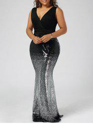 Plus Size Sequins Fishtail Maxi Evening Dress - BLACK