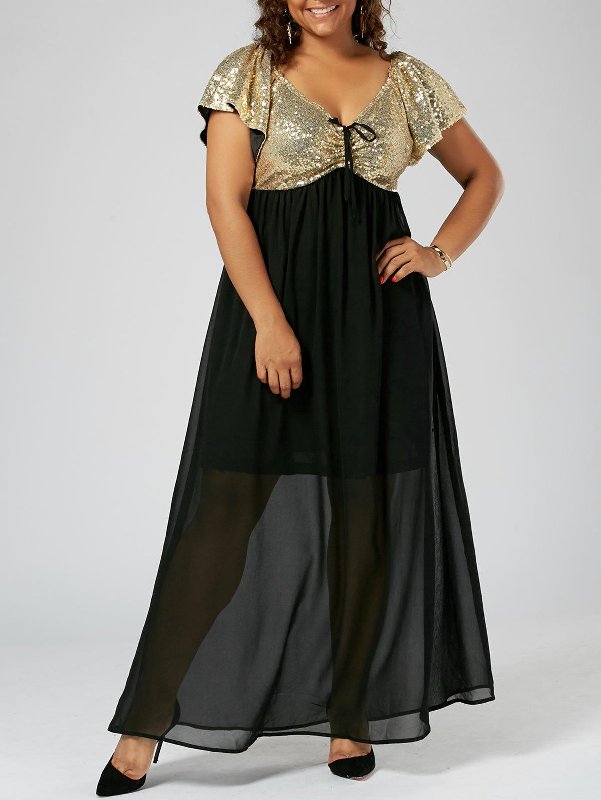 Plus Size Sequins Maxi Flowy Prom DressWOMEN<br><br>Size: 5XL; Color: GOLDEN; Style: Brief; Material: Polyester; Silhouette: A-Line; Dresses Length: Ankle-Length; Neckline: V-Neck; Sleeve Length: Short Sleeves; Pattern Type: Solid; With Belt: No; Season: Summer; Weight: 0.4900kg; Package Contents: 1 x Dress;