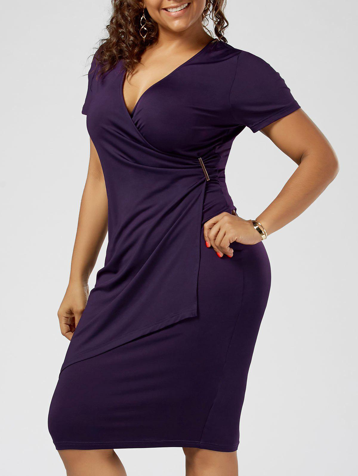 Plus Size Overlap Plain Tight Surplice V Neck Sheath DressWOMEN<br><br>Size: 3XL; Color: DEEP PURPLE; Style: Brief; Material: Polyester,Spandex; Silhouette: Sheath; Dresses Length: Knee-Length; Neckline: V-Neck; Sleeve Length: Short Sleeves; Pattern Type: Solid Color; With Belt: No; Season: Summer; Weight: 0.3200kg; Package Contents: 1 x Dress;