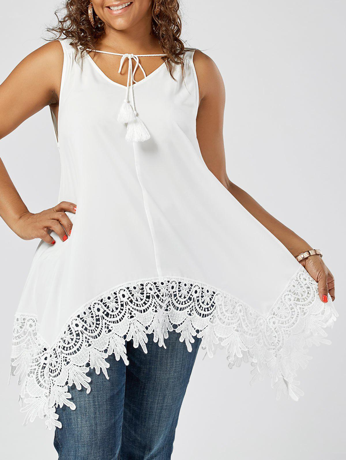 Lace Insert Plus Size TopWOMEN<br><br>Size: 2XL; Color: WHITE; Material: Polyester; Shirt Length: Long; Sleeve Length: Sleeveless; Collar: V-Neck; Style: Fashion; Season: Summer; Pattern Type: Patchwork; Weight: 0.2100kg; Package Contents: 1 x Top;