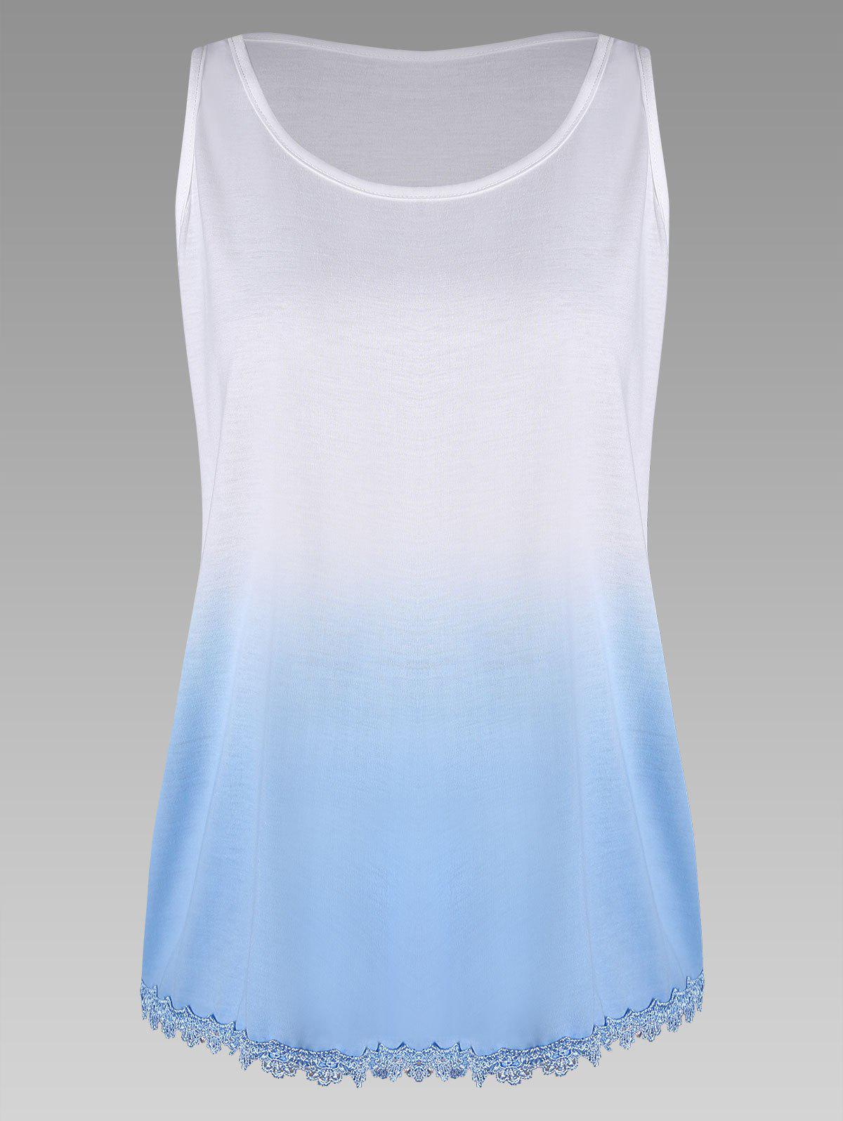 Plus Size Ombre Print Tank Top with Lace TrimWOMEN<br><br>Size: 3XL; Color: BLUE; Material: Cotton,Cotton Blends,Polyester; Shirt Length: Regular; Sleeve Length: Sleeveless; Collar: U Neck; Style: Fashion; Season: Spring,Summer; Embellishment: Lace; Pattern Type: Print; Weight: 0.2000kg; Package Contents: 1 x Tank Top;