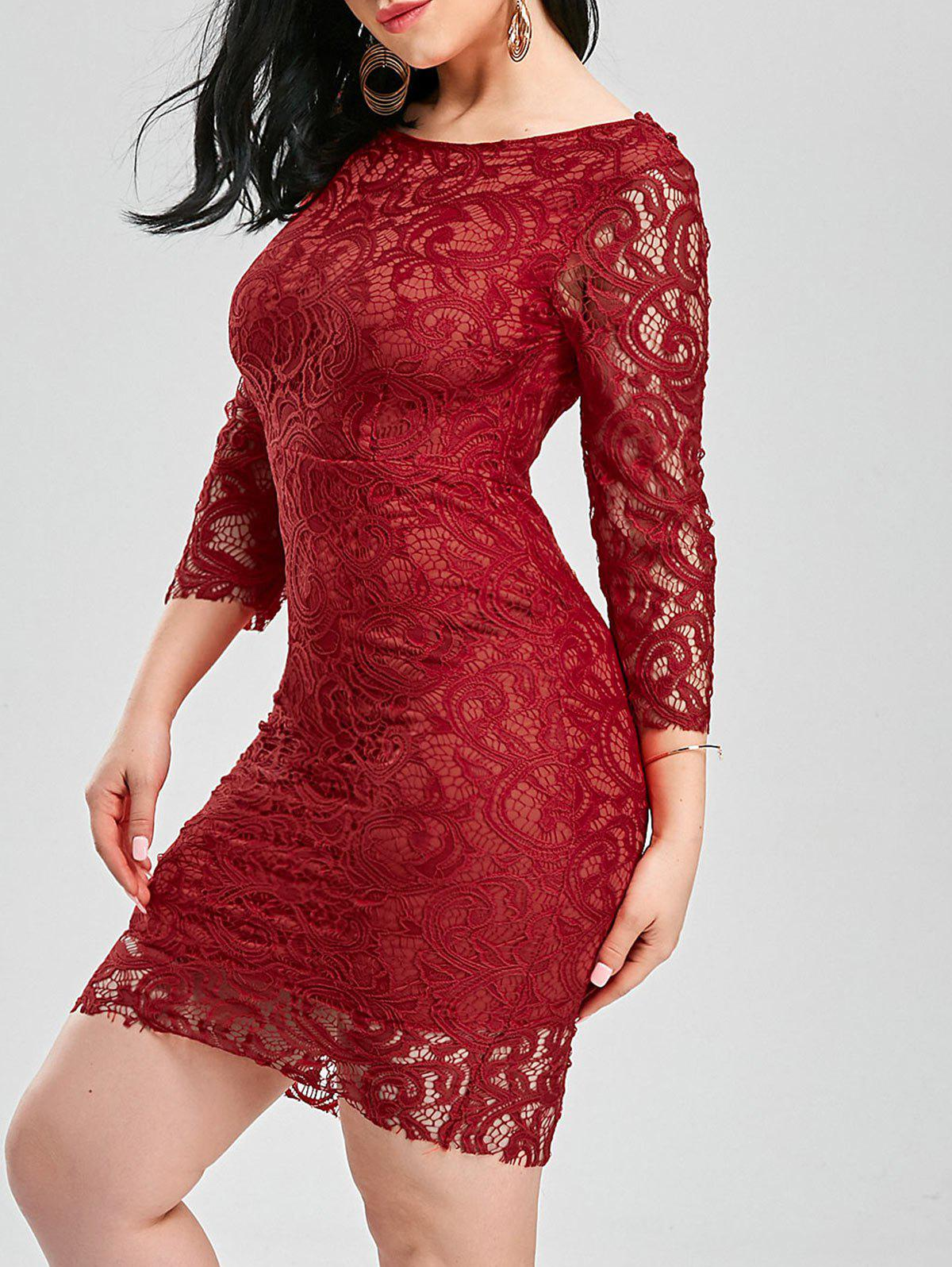 Unique Backless Lace Tight Short Homecoming Dress