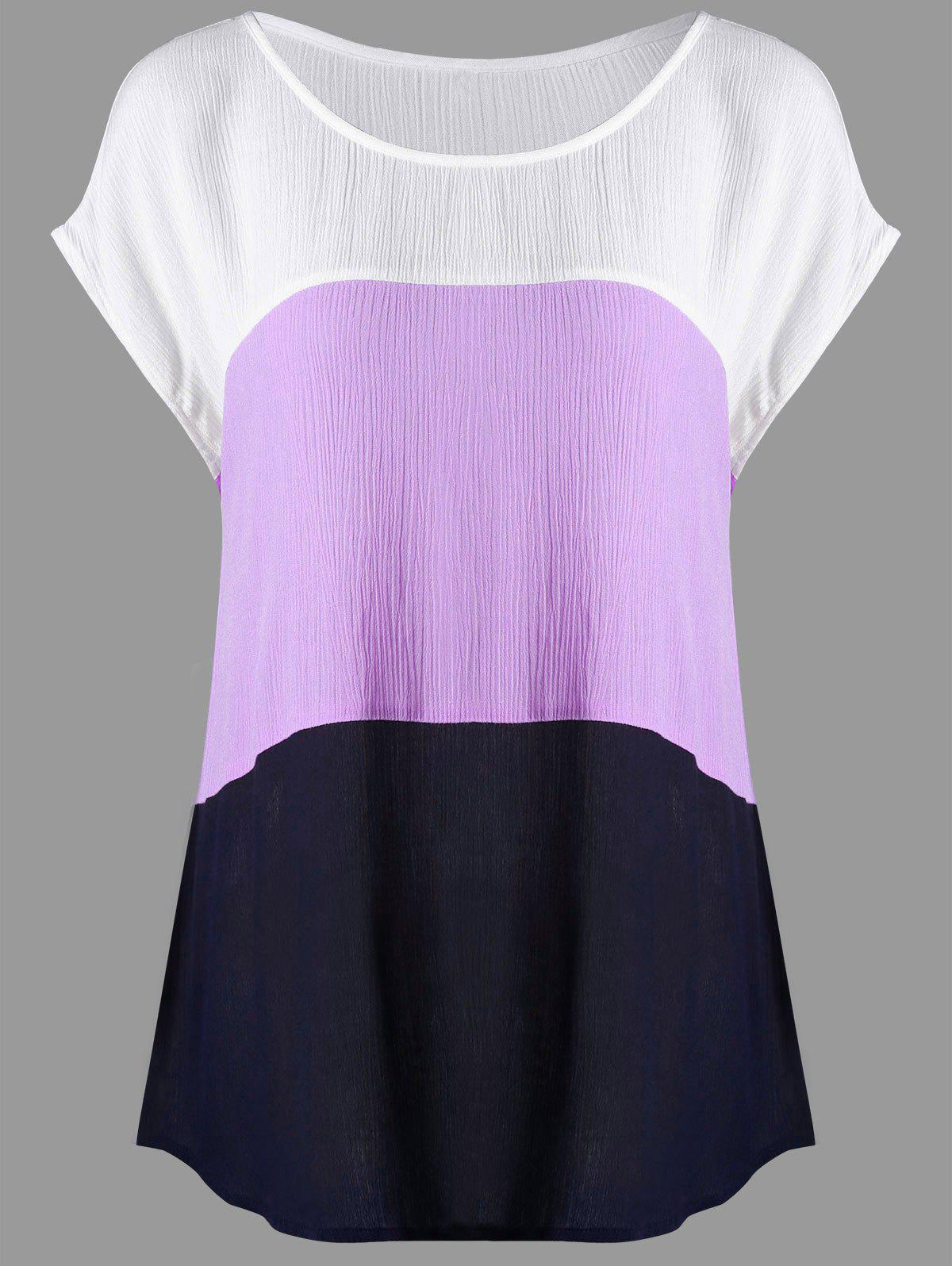 Plus Size Crinkle Cap Sleeve BlouseWOMEN<br><br>Size: 2XL; Color: WHITE + PURPLE; Material: Rayon; Shirt Length: Long; Sleeve Length: Short; Collar: Scoop Neck; Style: Casual; Season: Summer; Pattern Type: Solid; Weight: 0.1900kg; Package Contents: 1 x Blouse;