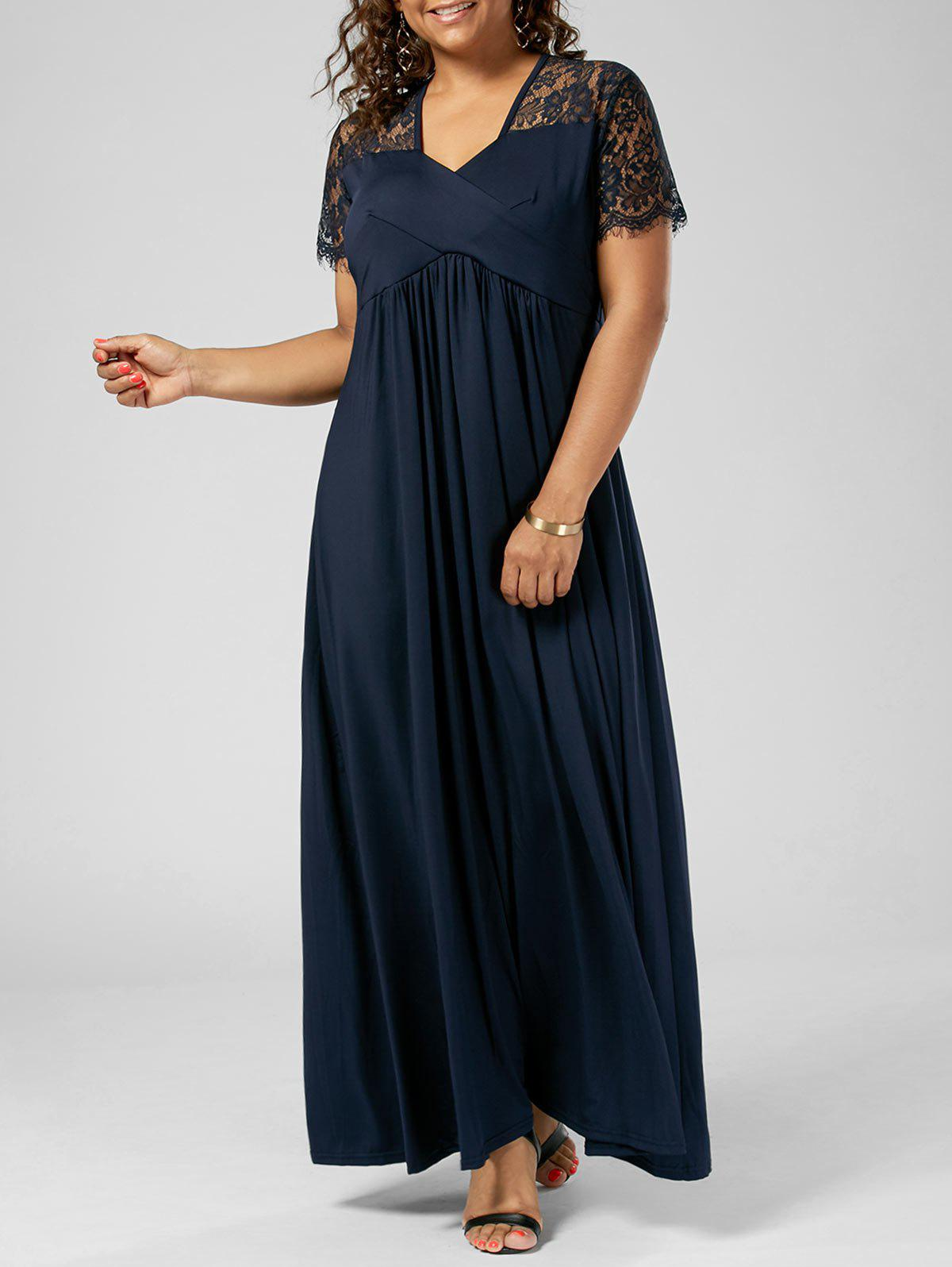 Plus Size Lace Insert Maxi Formal Dress with SleevesWOMEN<br><br>Size: 2XL; Color: PURPLISH BLUE; Style: Brief; Material: Polyester; Silhouette: A-Line; Dresses Length: Floor-Length; Neckline: V-Neck; Sleeve Length: Short Sleeves; Pattern Type: Solid Color; With Belt: No; Season: Summer; Weight: 0.6000kg; Package Contents: 1 x Dress;