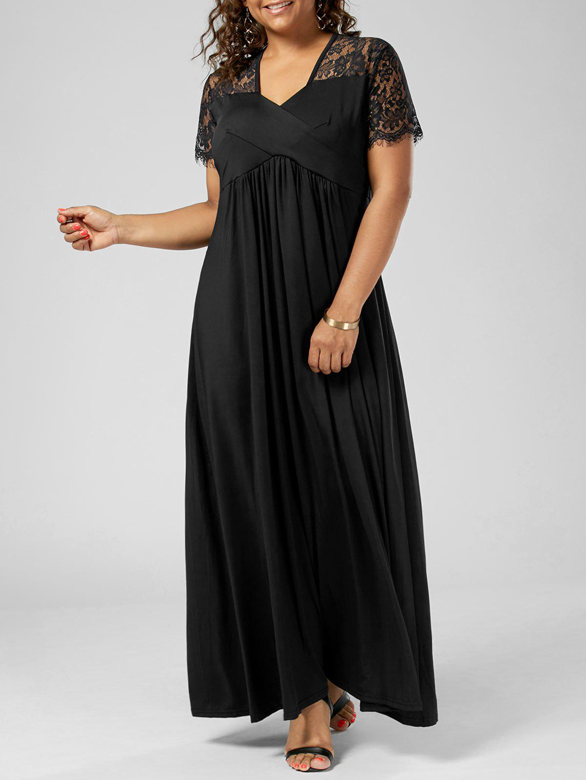 Plus Size Lace Insert Maxi Formal Dress with SleevesWOMEN<br><br>Size: 3XL; Color: BLACK; Style: Brief; Material: Polyester; Silhouette: A-Line; Dresses Length: Floor-Length; Neckline: V-Neck; Sleeve Length: Short Sleeves; Pattern Type: Solid Color; With Belt: No; Season: Summer; Weight: 0.6000kg; Package Contents: 1 x Dress;