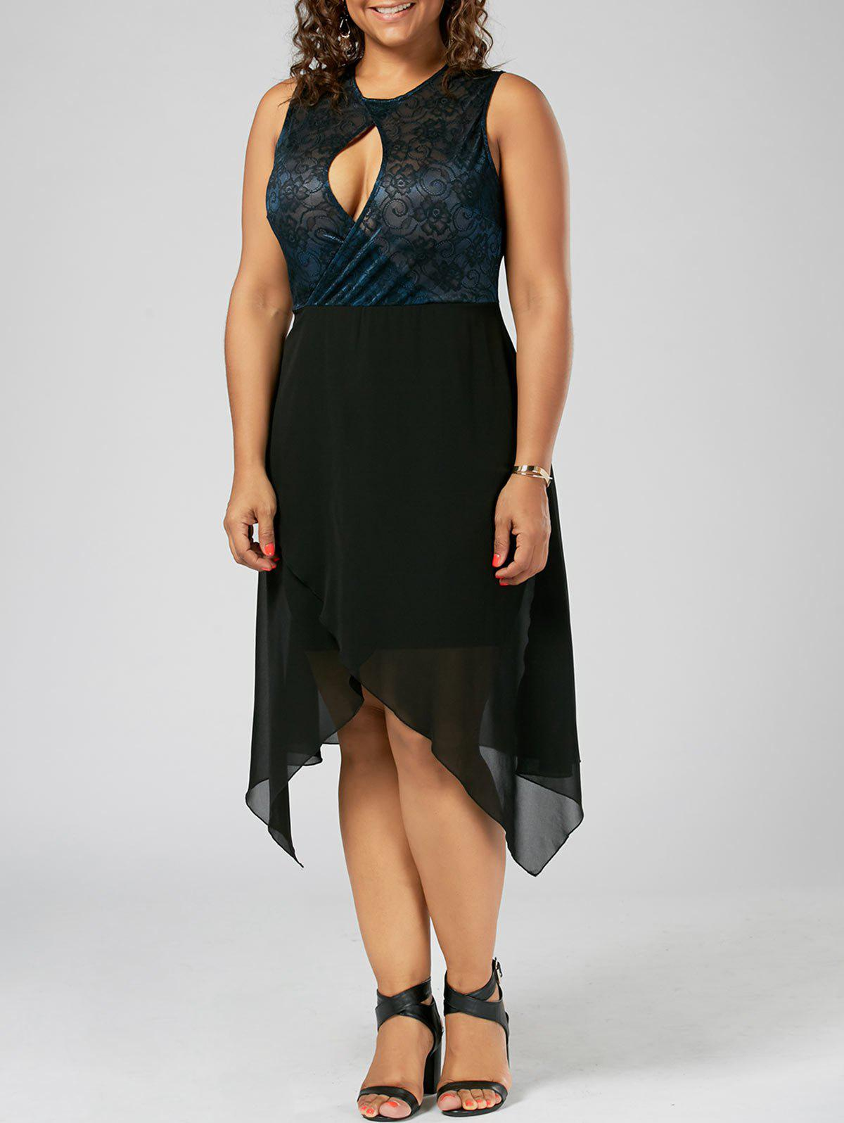 Plus Size Keyhole Neck Overlap Sleeveless DressWOMEN<br><br>Size: 5XL; Color: PURPLISH BLUE; Style: Brief; Material: Polyester,Spandex; Silhouette: A-Line; Dresses Length: Mid-Calf; Neckline: Keyhole Neck; Sleeve Length: Sleeveless; Pattern Type: Floral; With Belt: No; Season: Summer; Weight: 0.3790kg; Package Contents: 1 x Dress;