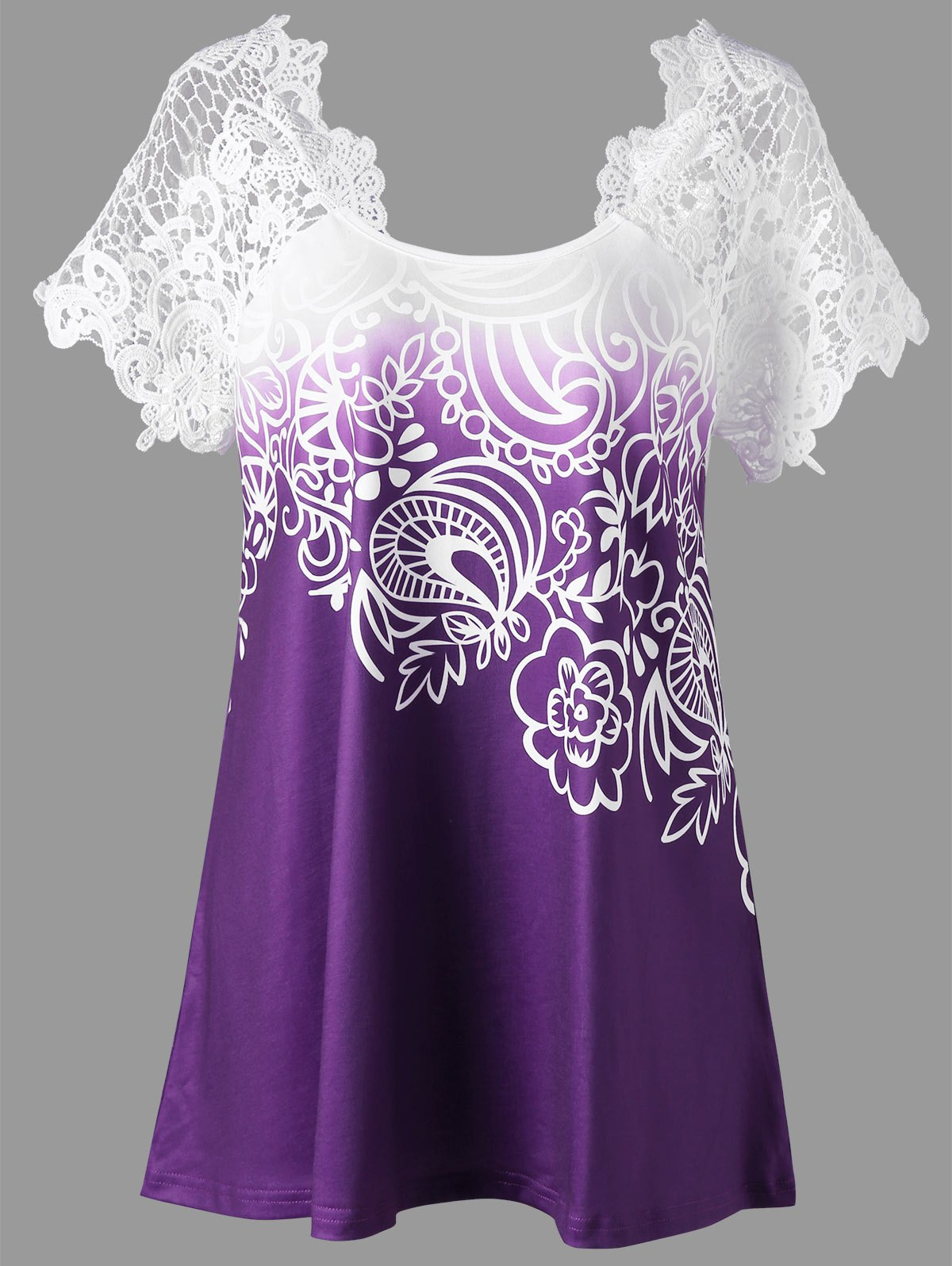 Lace Panel Raglan Sleeve Floral Plus Size TopWOMEN<br><br>Size: 2XL; Color: CONCORD; Material: Polyester,Spandex; Shirt Length: Regular; Sleeve Length: Short; Collar: Round Neck; Style: Fashion; Season: Fall,Spring,Summer; Embellishment: Lace; Pattern Type: Floral; Weight: 0.2300kg; Package Contents: 1 x Top;