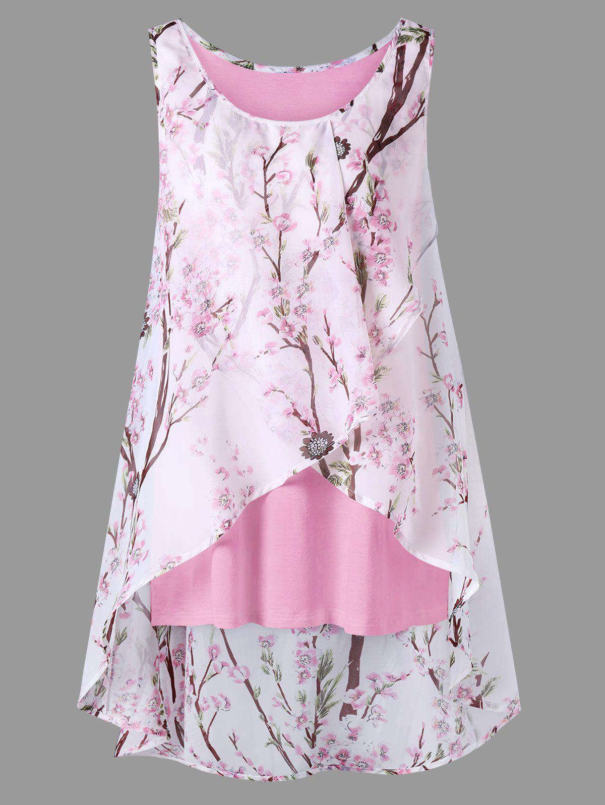 Plus Size Overlap Tiny Floral Sleeveless TopWOMEN<br><br>Size: XL; Color: LIGHT PINK; Material: Polyester; Shirt Length: Long; Sleeve Length: Sleeveless; Collar: Scoop Neck; Style: Casual; Season: Summer; Pattern Type: Floral; Weight: 0.2700kg; Package Contents: 1 x Blouse;