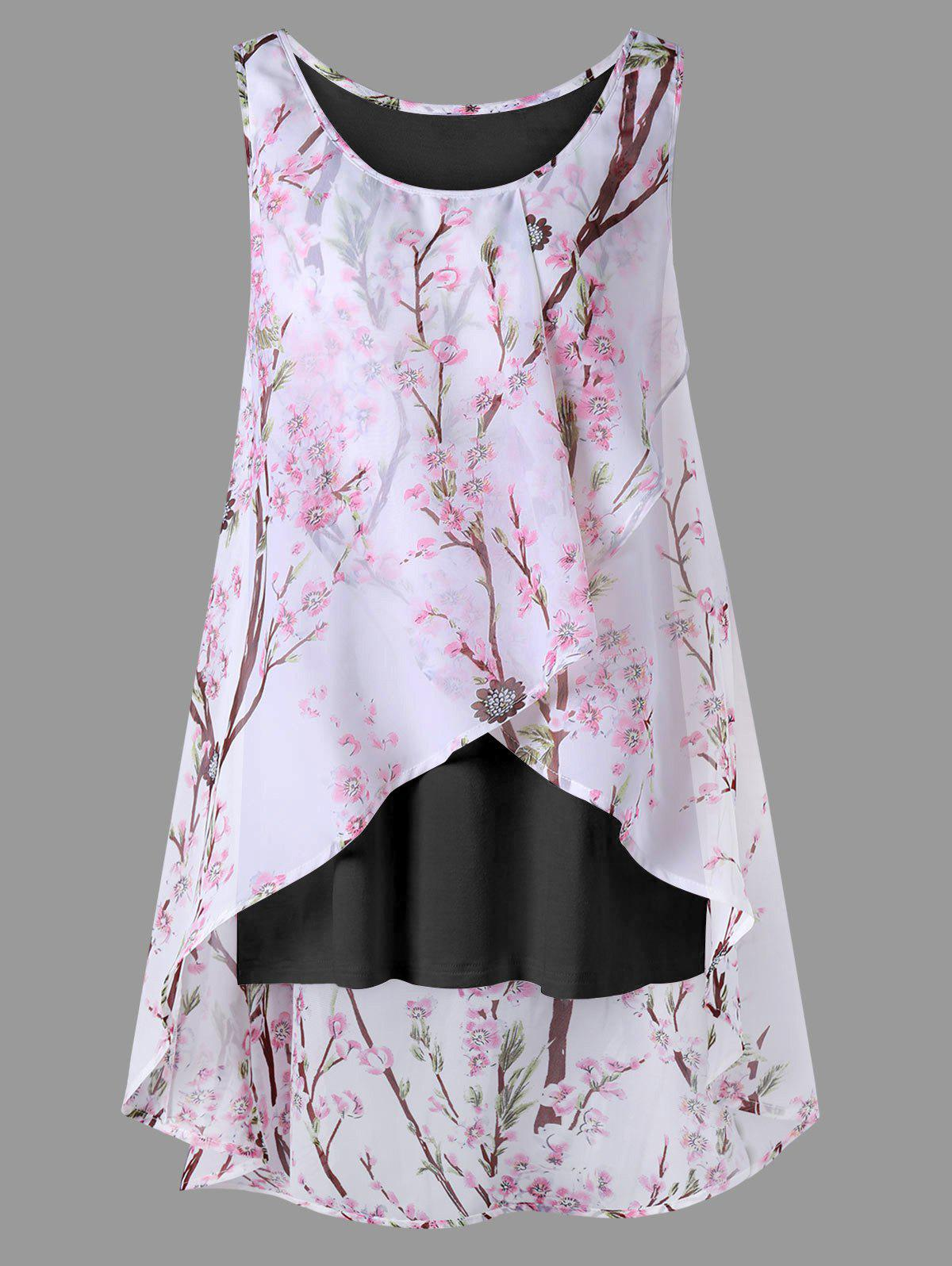 Plus Size Overlap Tiny Floral Sleeveless TopWOMEN<br><br>Size: XL; Color: BLACK; Material: Polyester; Shirt Length: Long; Sleeve Length: Sleeveless; Collar: Scoop Neck; Style: Casual; Season: Summer; Pattern Type: Floral; Weight: 0.2700kg; Package Contents: 1 x Blouse;