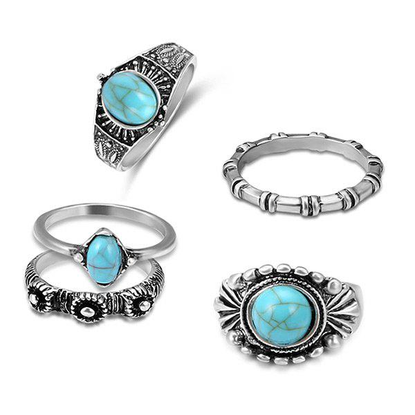Faux Turquoise Bohemian Oval Ring SetJEWELRY<br><br>Color: SILVER; Gender: For Women; Metal Type: Alloy; Style: Trendy; Shape/Pattern: Geometric; Weight: 0.0300kg; Package Contents: 5 x Rings (Piece);