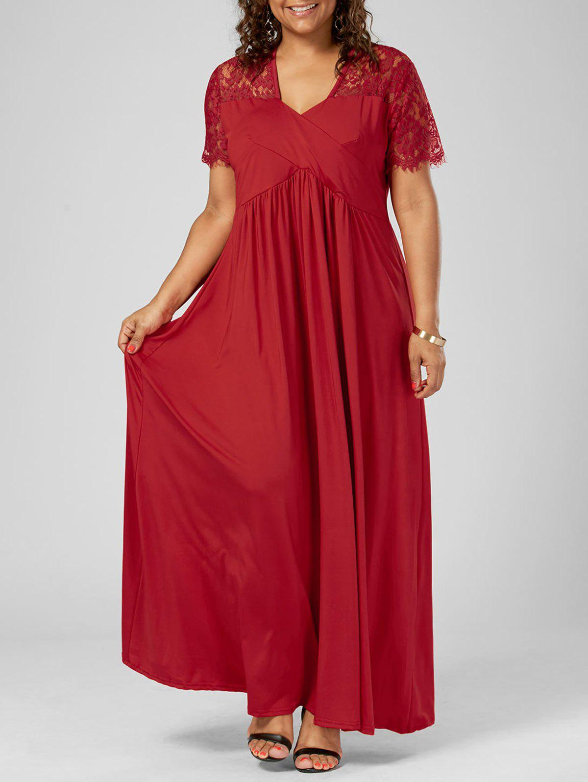 Plus Size Lace Insert Maxi Formal Dress with SleevesWOMEN<br><br>Size: 5XL; Color: RED; Style: Brief; Material: Polyester; Silhouette: A-Line; Dresses Length: Floor-Length; Neckline: V-Neck; Sleeve Length: Short Sleeves; Pattern Type: Solid Color; With Belt: No; Season: Summer; Weight: 0.6000kg; Package Contents: 1 x Dress;