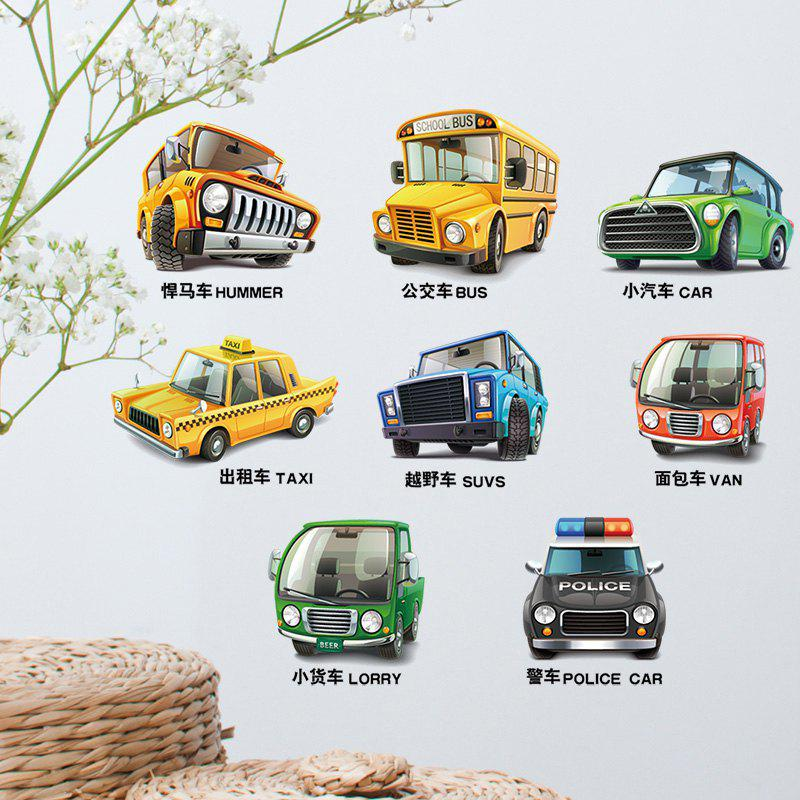 Cartoon Car Vehicle Removable Kids Wall StickerHOME<br><br>Size: 45*30CM; Color: COLORMIX; Wall Sticker Type: Plane Wall Stickers; Functions: Decorative Wall Stickers; Theme: Cartoon,Transportation; Material: PVC; Feature: Removable; Weight: 0.2600kg; Package Contents: 1 x Wall Sticker;