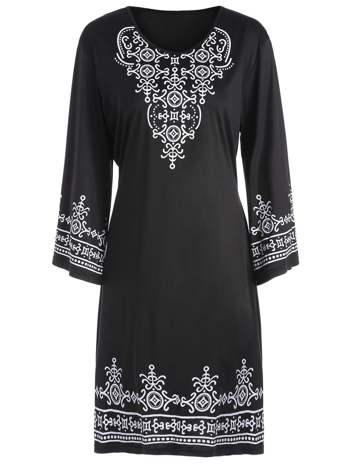 Tribal Print Plus Size T Shirt DressWOMEN<br><br>Size: 5XL; Color: BLACK; Style: Casual; Material: Polyester; Silhouette: Straight; Dresses Length: Knee-Length; Neckline: Round Collar; Sleeve Length: 3/4 Length Sleeves; Pattern Type: Tribal Print; With Belt: No; Season: Summer; Weight: 0.2500kg; Package Contents: 1 x Dress;