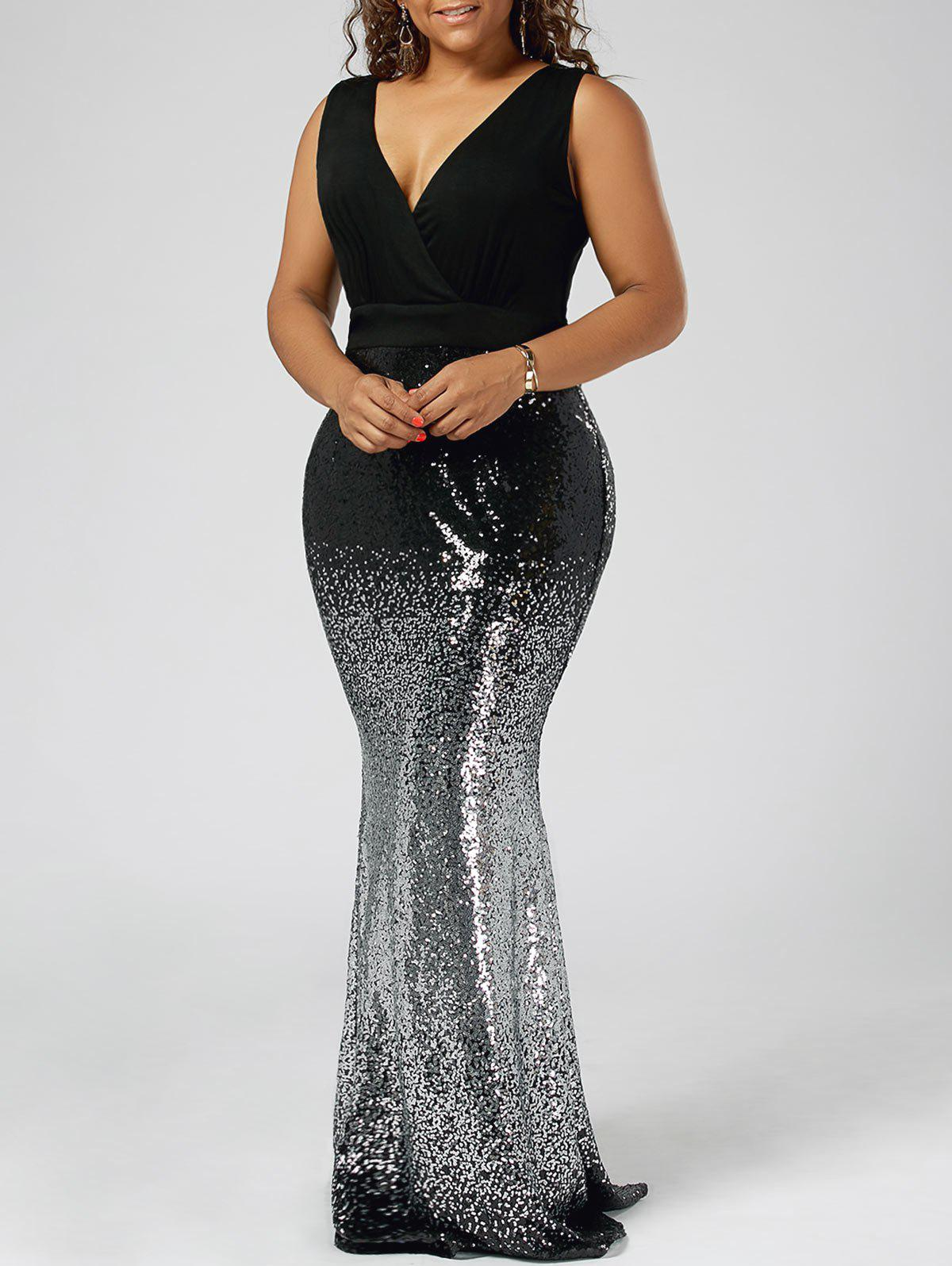 Plus Size Sequins Fishtail Maxi Evening Prom DressWOMEN<br><br>Size: 5XL; Color: BLACK; Style: Brief; Material: Cotton,Spandex; Silhouette: Trumpet/Mermaid; Dresses Length: Floor-Length; Neckline: V-Neck; Sleeve Length: Sleeveless; Embellishment: Sequins; Pattern Type: Solid; With Belt: No; Season: Summer; Weight: 0.6500kg; Package Contents: 1 x Dress;