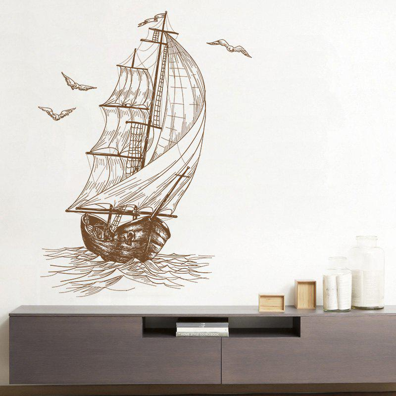 Sketch Sail Boat Vinyl Decorative Wall StickerHOME<br><br>Size: 40*60CM; Color: DUN; Wall Sticker Type: Plane Wall Stickers; Functions: Decorative Wall Stickers; Theme: Transportation; Material: PVC; Feature: Removable; Weight: 0.1344kg; Package Contents: 1 x Wall Sticker;