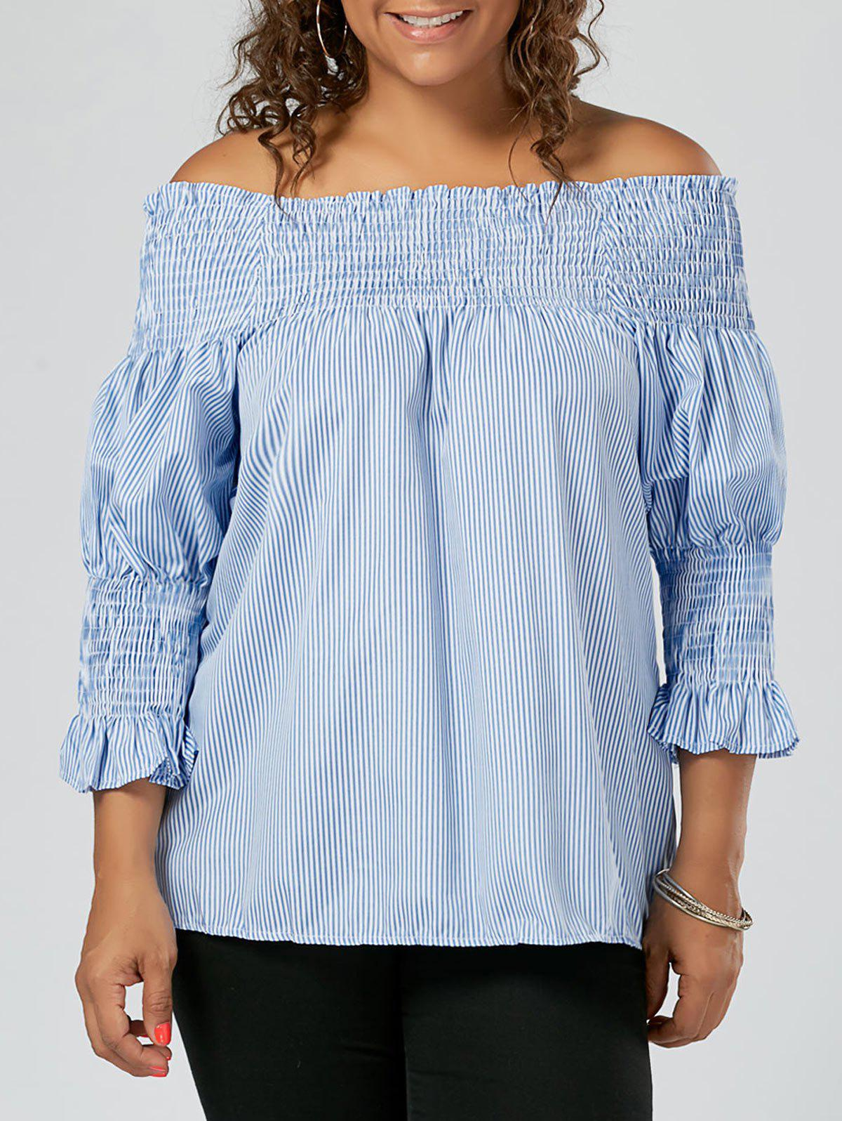 Stripe Ruffled Off The Shoulder Plus Size TopWOMEN<br><br>Size: 5XL; Color: BLUE; Material: Cotton Blends,Polyester; Shirt Length: Regular; Sleeve Length: Three Quarter; Collar: Off The Shoulder; Style: Fashion; Season: Spring,Summer; Embellishment: Ruffles; Pattern Type: Striped; Weight: 0.2100kg; Package Contents: 1 x Top;
