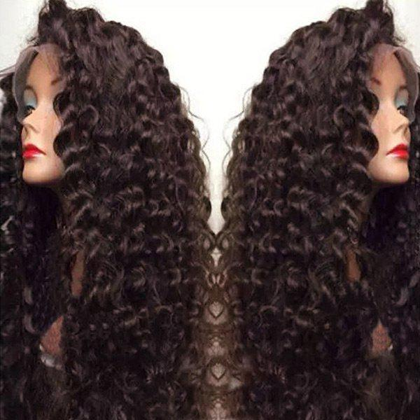 Outfit Ultra Long Side Bang Fluffy Deep Curly Lace Front Synthetic Wig