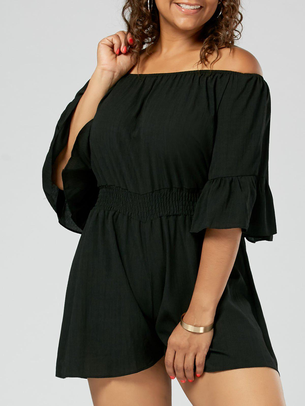 Chiffon Ruffled Off The Shoulder Plus Size RomperWOMEN<br><br>Size: 5XL; Color: BLACK; Style: Fashion; Length: Short; Material: Polyester; Fabric Type: Chiffon; Fit Type: Loose; Waist Type: High; Closure Type: Elastic Waist; Pattern Type: Solid; Embellishment: Ruffles; Pant Style: Wide Leg Pants; Weight: 0.2000kg; Package Contents: 1 x Romper;