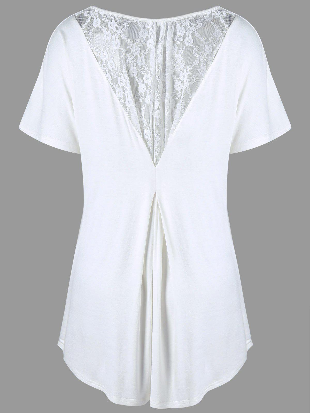 Plus Size Lace Insert High Low TeeWOMEN<br><br>Size: 5XL; Color: WHITE; Material: Rayon,Spandex; Shirt Length: Long; Sleeve Length: Short; Collar: Round Neck; Style: Casual; Season: Summer; Embellishment: Lace; Pattern Type: Solid; Weight: 0.2350kg; Package Contents: 1 x T-shirt;