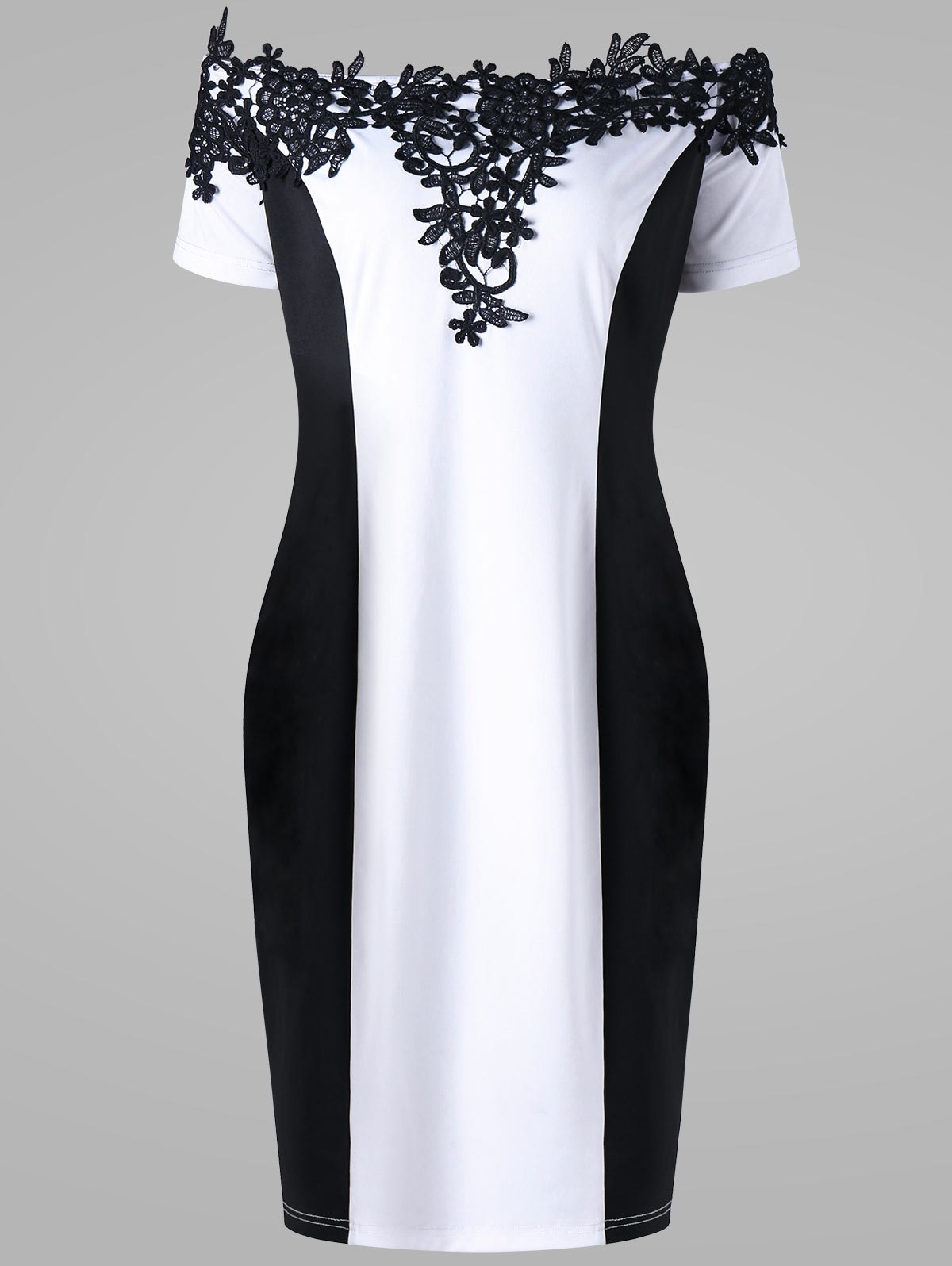 Appliqued Off The Shoulder Plus Size Pencil DressWOMEN<br><br>Size: 4XL; Color: WHITE AND BLACK; Style: Brief; Material: Polyester,Spandex; Silhouette: Sheath; Dresses Length: Mini; Neckline: Off The Shoulder; Sleeve Length: Short Sleeves; Embellishment: Appliques; Pattern Type: Floral; With Belt: No; Season: Summer; Weight: 0.3200kg; Package Contents: 1 x Dress;