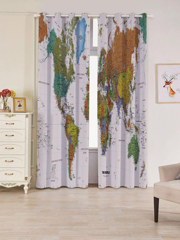 Shop 2 Panels Blackout World Map Print Window Curtains
