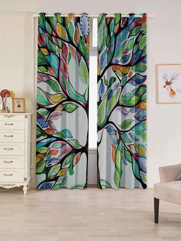 Life of Tree Print Blackout 2 PCs Window CurtainsHOME<br><br>Size: W53 INCH * L96.5 INCH; Color: COLORFUL; Applicable Window Type: French Window; Function: Blackout; Installation Type: Ceiling Installation; Location: Window; Material: Polyester / Cotton; Opening and Closing Method: Left and Right Biparting Open; Pattern Type: Plant; Processing: Punching; Processing Accessories Cost: Excluded; Style: European and American Style; Type: Curtain; Use: Cafe,Home,Hospital,Office; Weight: 1.2000kg; Package Contents: 2 x Window Curtains;
