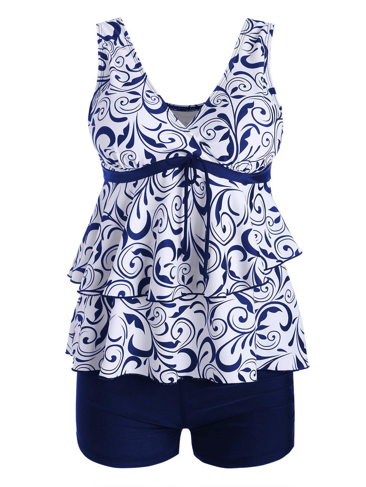 Plus Size Flounce Printed Blouson Tankini SetWOMEN<br><br>Size: XL; Color: BLUE; Gender: For Women; Swimwear Type: Tankini; Material: Nylon,Spandex; Bra Style: Padded; Support Type: Wire Free; Pattern Type: Print; Waist: Natural; Weight: 0.3500kg; Package Contents: 1 x Top  1 x Bottom;