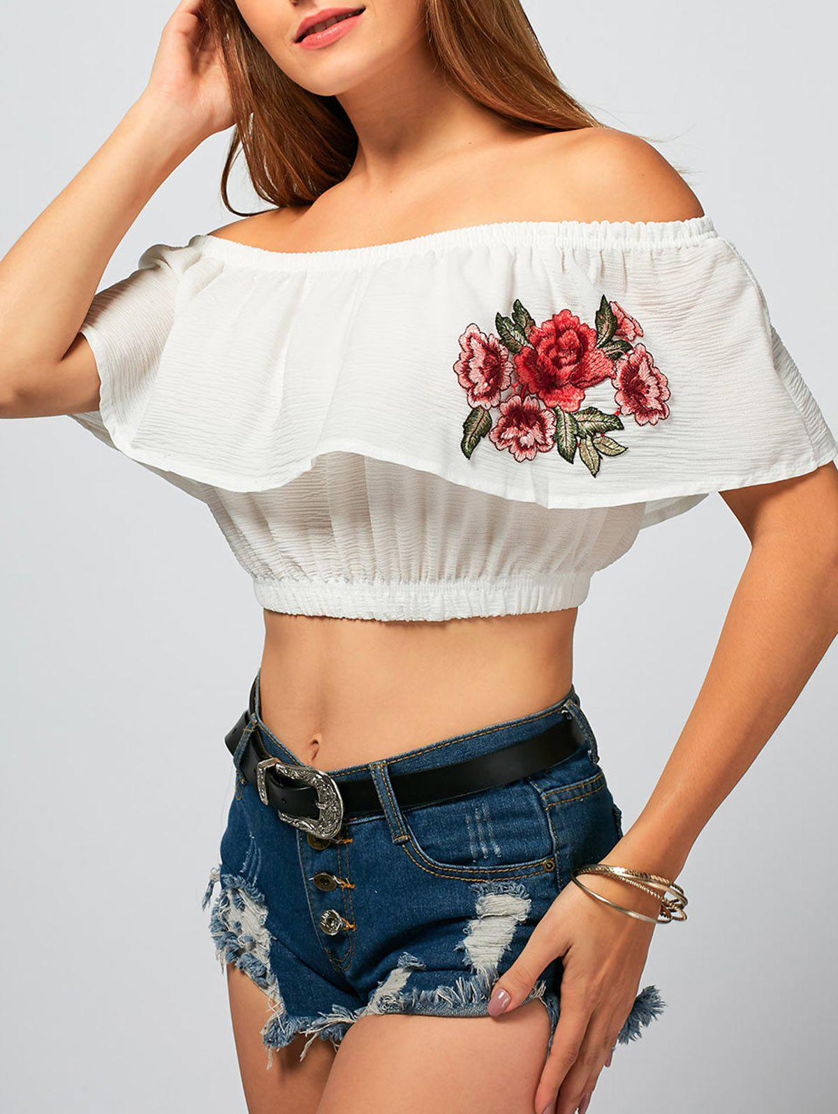 New Flower Embroidery Off The Shoulder Crop Top